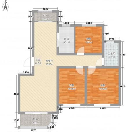 新东方冠军城E区3室1厅1卫1厨115.00㎡户型图