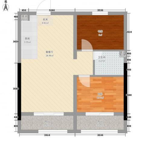 天一华府2室1厅1卫0厨53.56㎡户型图