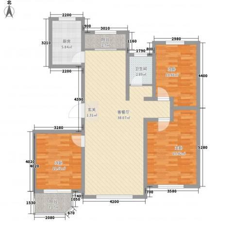 新东方冠军城E区3室1厅1卫1厨129.00㎡户型图