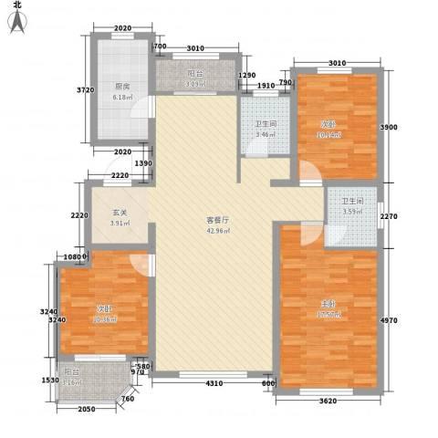 新东方冠军城E区3室1厅2卫1厨135.00㎡户型图
