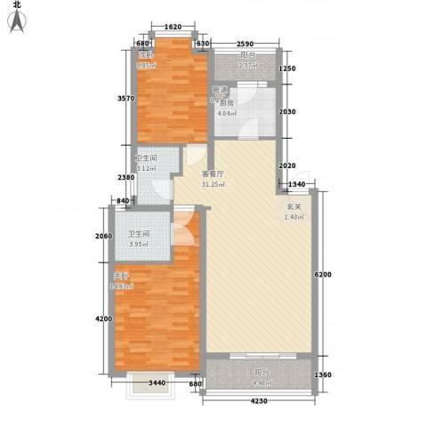 金龙公寓2室1厅2卫1厨100.00㎡户型图
