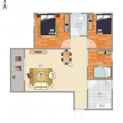 望海汇景苑3室1厅1卫1厨96.00㎡户型图