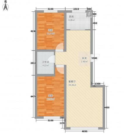 东湖凤还朝2室1厅1卫1厨66.02㎡户型图