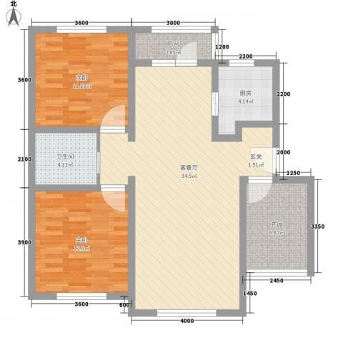 艾博龙园2室1厅1卫1厨97.00㎡户型图