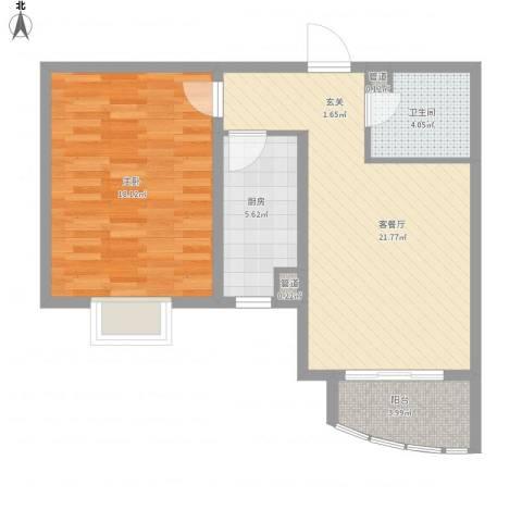 绿地世纪城・塞纳印象1室1厅1卫1厨77.00㎡户型图