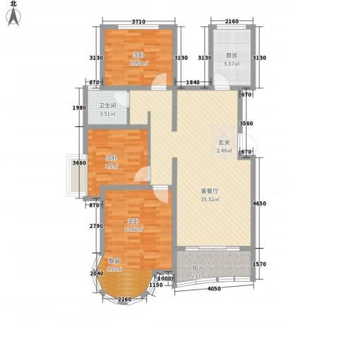 澜湾盛景3室1厅1卫1厨99.29㎡户型图