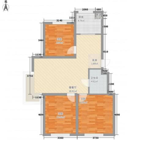东湖凤还朝3室1厅1卫1厨70.64㎡户型图