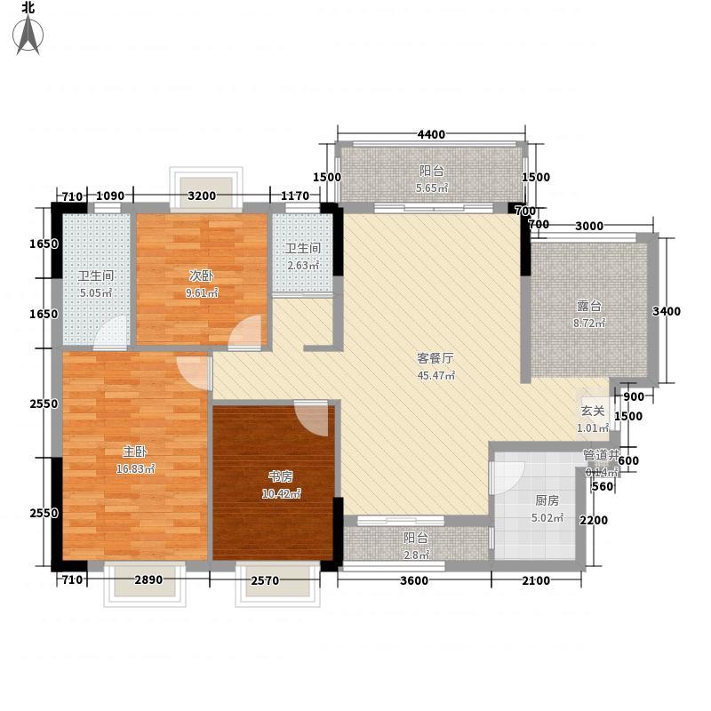 联城新世纪1栋2单元2D户型3室2厅2卫