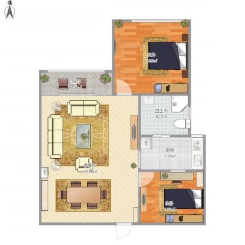 东航明珠公寓2室1厅1卫1厨96.00㎡户型图