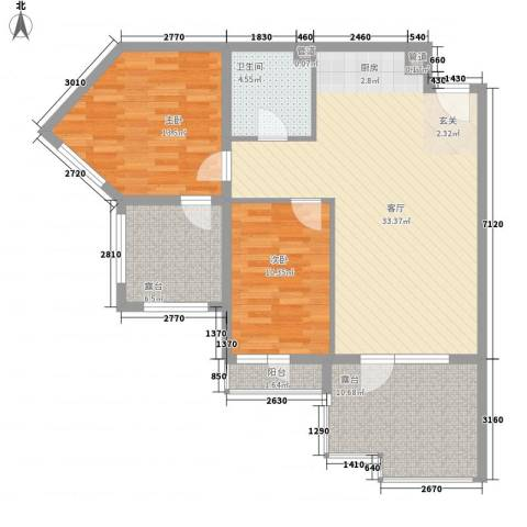 恒泰・时间海2室1厅1卫0厨114.00㎡户型图