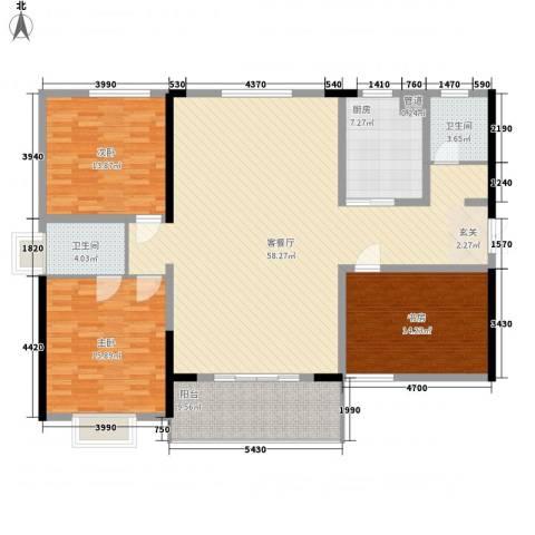 贵熙园3室1厅2卫1厨143.00㎡户型图