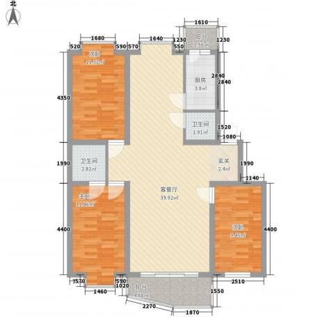 东南阳光3室1厅2卫1厨125.00㎡户型图