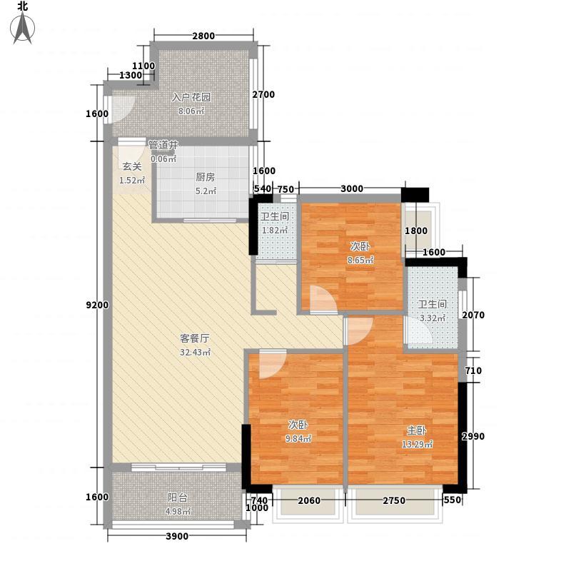 联城新世纪2栋1单元1D户型2室2厅1卫