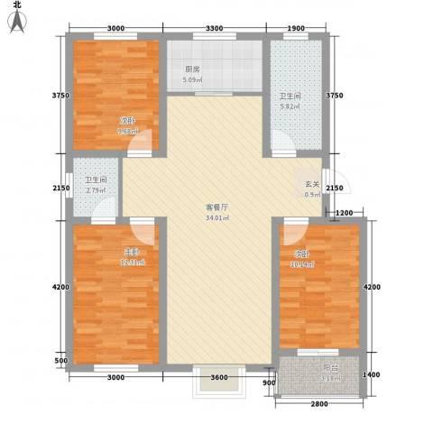 御景园3室1厅2卫1厨112.00㎡户型图