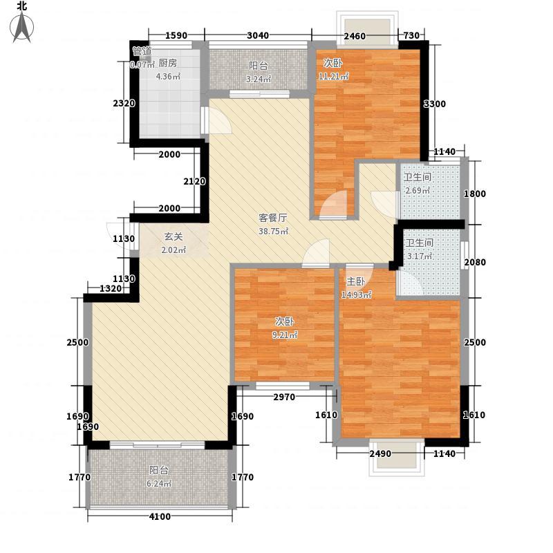 古龙翰林阁12.00㎡B户型3室2厅2卫1厨