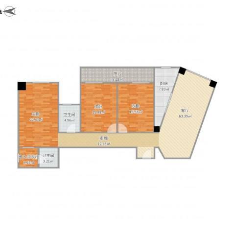 东方顺景1栋27032室1厅2卫1厨166.00㎡户型图
