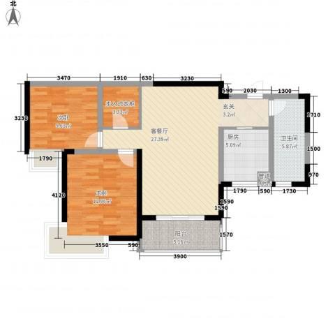 纯翠香山2室1厅1卫1厨69.48㎡户型图