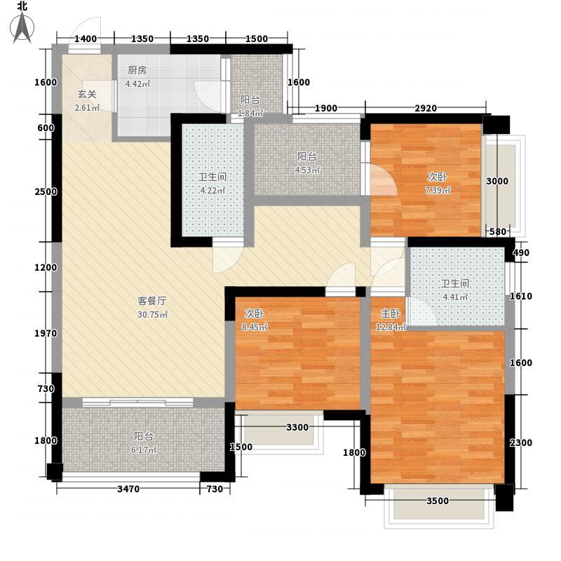 中玮海润城114.30㎡D1户型3室2厅2卫1厨