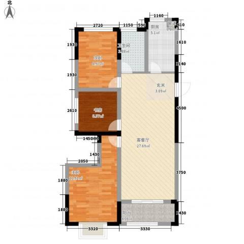金鹏・爱丽舍宫3室1厅1卫1厨69.16㎡户型图