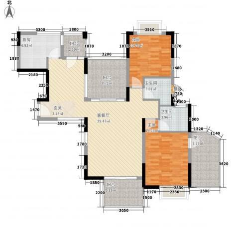厦航同城湾2室1厅2卫1厨121.00㎡户型图