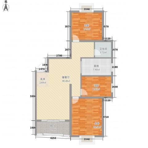 澜湾盛景3室1厅1卫1厨104.69㎡户型图