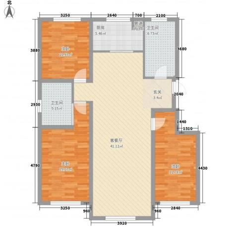 东湖凤还朝3室1厅2卫1厨138.00㎡户型图