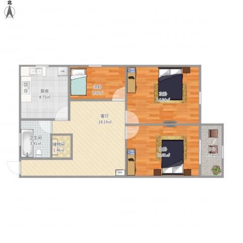 花园西村3室1厅1卫1厨95.00㎡户型图