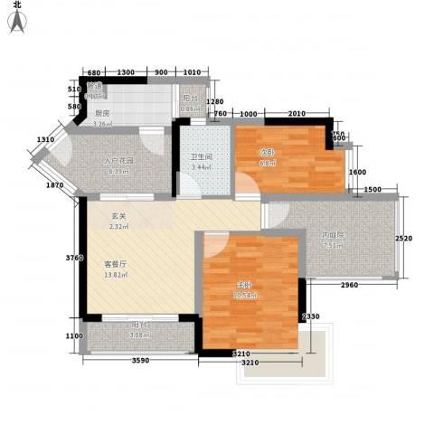 威廉城邦2室1厅1卫1厨74.00㎡户型图