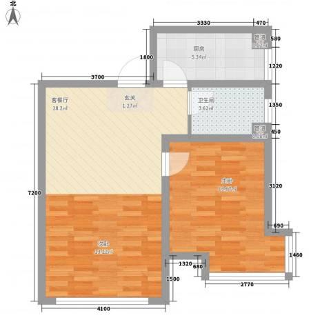 锦绣蓝湾1室1厅1卫1厨73.00㎡户型图