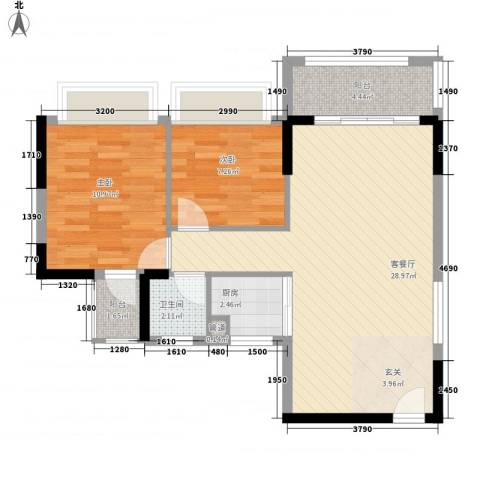 新园华府2室1厅1卫1厨57.99㎡户型图