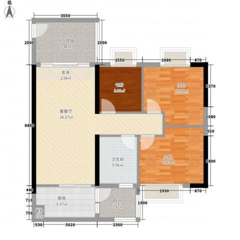 翡翠绿洲湖滨苑3室1厅1卫1厨107.00㎡户型图