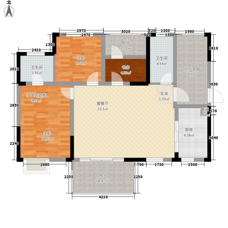 滨水・天悦124.40㎡B1户型3室2厅2卫1厨