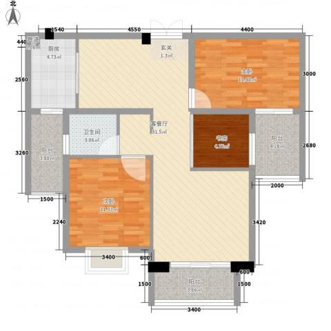 华府豪庭二期3室1厅1卫1厨212.00㎡户型图