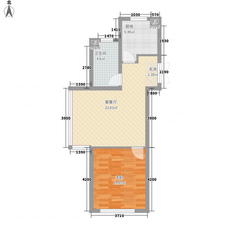 锦绣蓝湾71.74㎡B4/B5号楼A户型1室2厅1卫