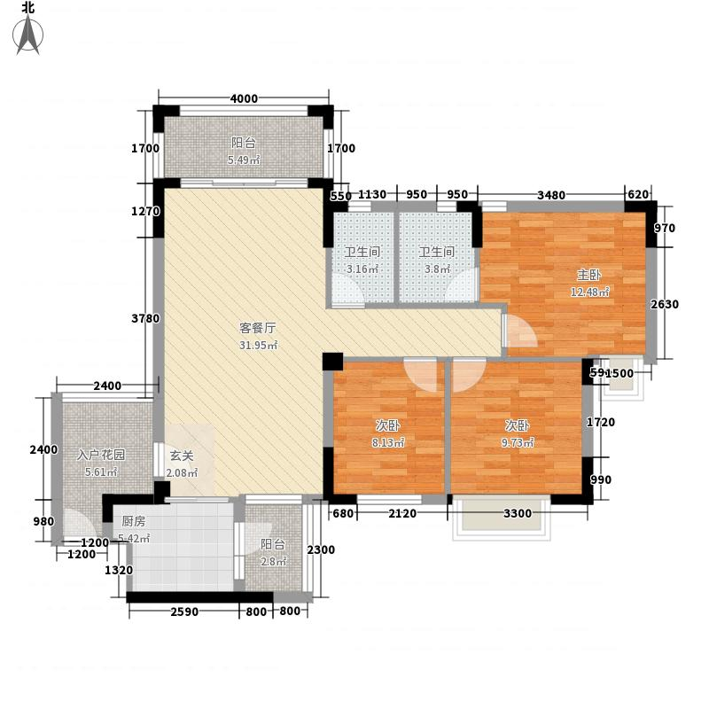 皇冠岭秀五期02号位户型3室2厅2卫1厨
