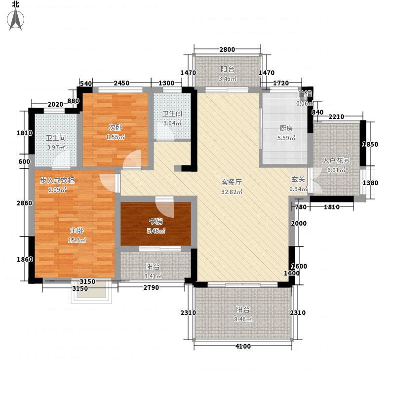 滨水・天悦127.00㎡A1户型3室2厅2卫1厨