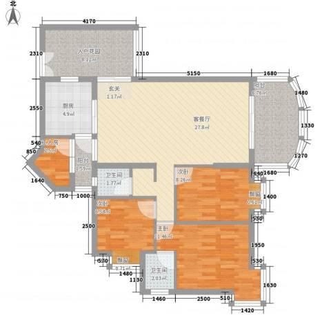 瑞景居3室1厅2卫1厨118.00㎡户型图
