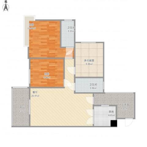 东方丽都2室1厅2卫1厨111.00㎡户型图