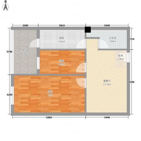 蓝山国际公寓2室1厅1卫1厨57.19㎡户型图