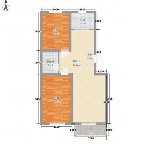 御景园2室1厅1卫1厨88.00㎡户型图