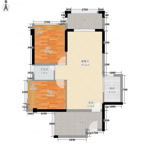 嘉豪园二期2室1厅1卫1厨84.00㎡户型图