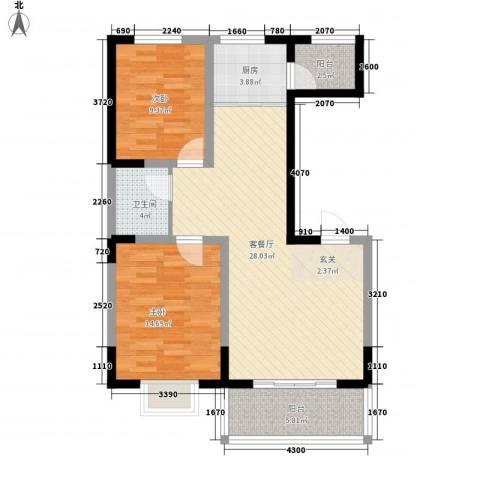 明泽园2室1厅1卫1厨68.28㎡户型图