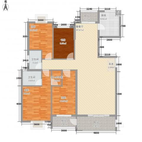 华府豪庭二期4室1厅2卫1厨124.65㎡户型图