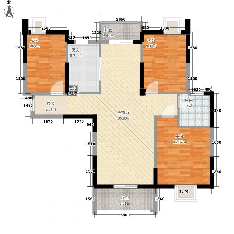 金地天悦12.00㎡B3号楼B-3户型3室2厅1卫1厨