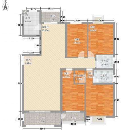 华府豪庭二期4室1厅2卫1厨126.37㎡户型图