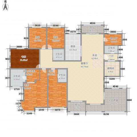 天徽天鹅湖9号5室1厅4卫1厨408.00㎡户型图