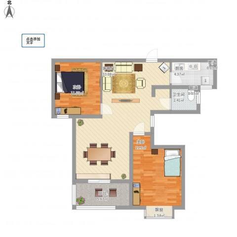 中环城紫荆公馆2室1厅1卫1厨103.00㎡户型图