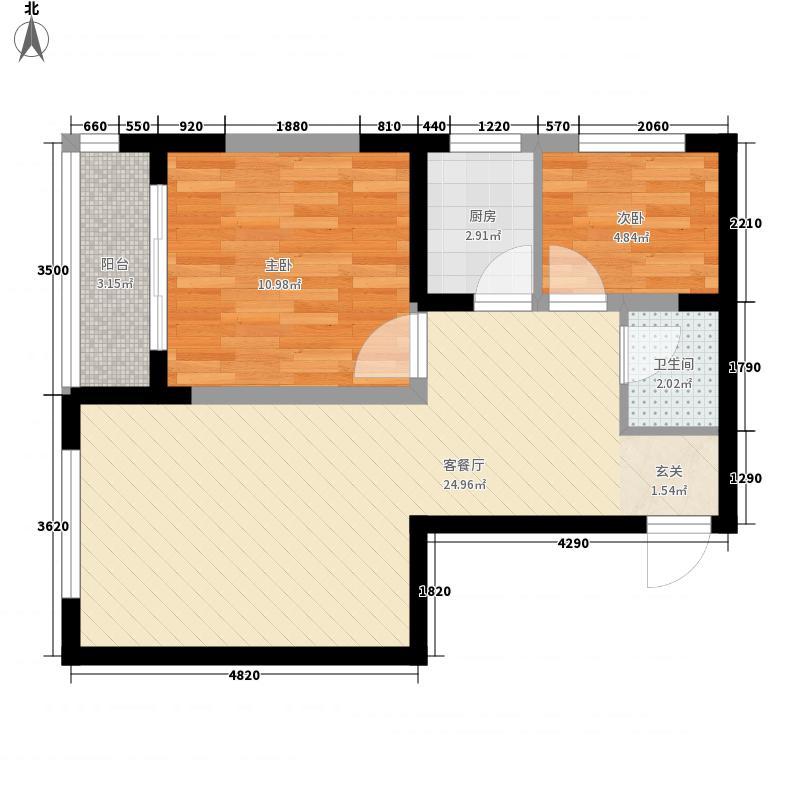 明泽园72.20㎡C户型2室1厅1卫1厨