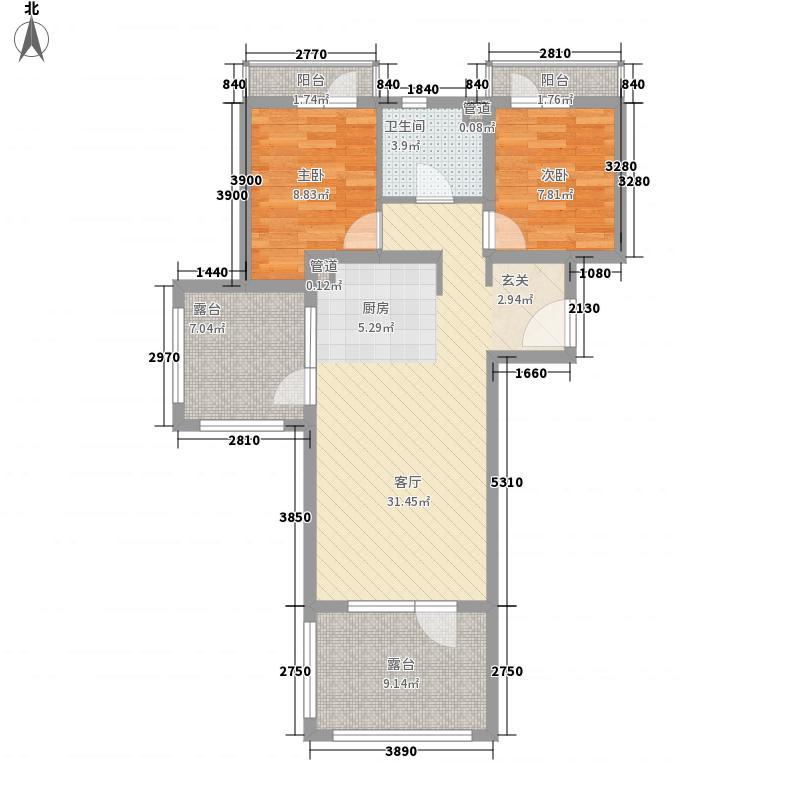 恒泰・时间海2、3号楼H正面户型2室1厅1卫