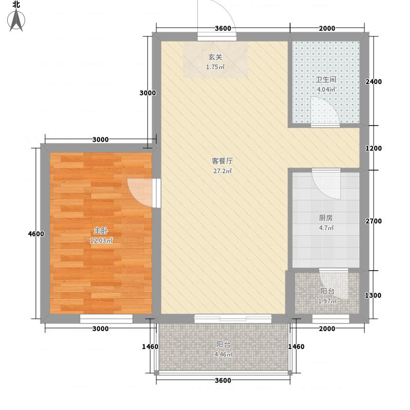 博大・领航国际78.80㎡户型1室2厅1卫